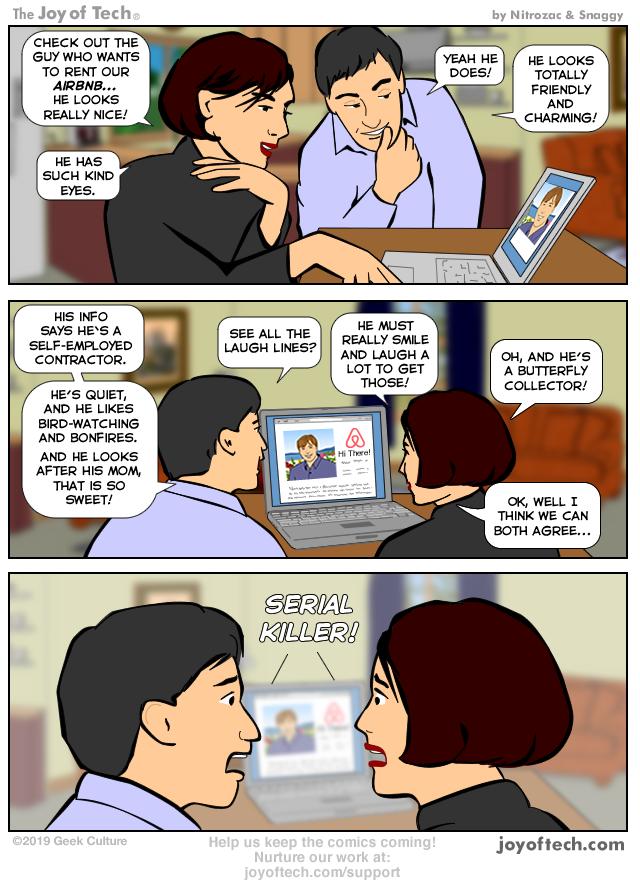 The Joy of Tech comic    Profile of a nice guy
